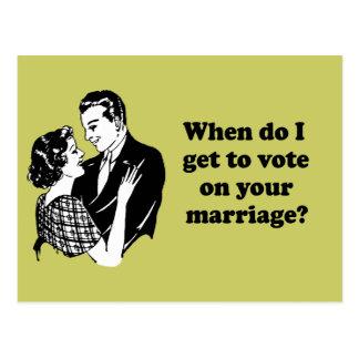 Quando eu conseguir votar em seu casamento cartão postal