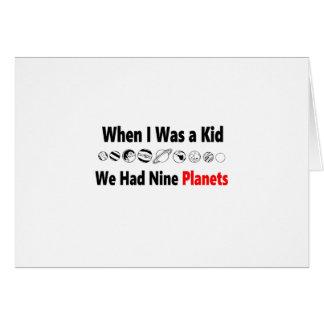 quando eu era miúdo nós tivemos nove planetas cartão