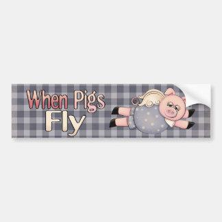Quando os porcos voarem o autocolante no vidro tra adesivo