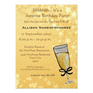 Quarenta anos de brinde velho de Champagne do Convite 13.97 X 19.05cm