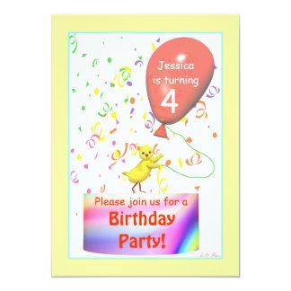 Quarta galinha da festa de aniversário convite 12.7 x 17.78cm
