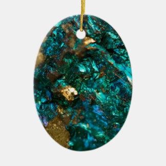 Quartzo liso de óleo da cerceta e do ouro ornamento de cerâmica oval
