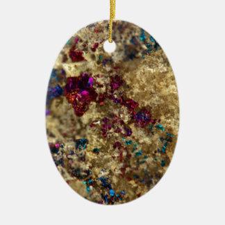 Quartzo liso do óleo dourado ornamento de cerâmica oval
