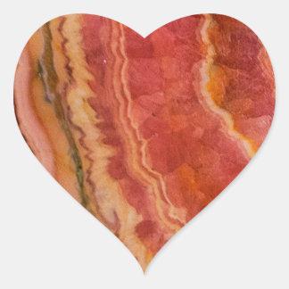 Quartzo listrado Salmon Adesivo Coração