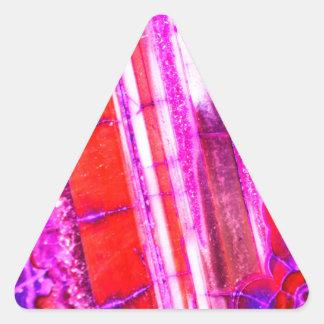 Quartzo vermelho dos doces & roxo listrado adesivo triangular