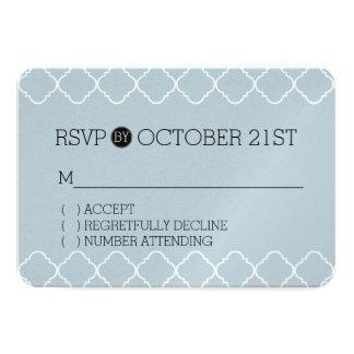 Quatrefoil azul e branco Pastel RSVP Convite 8.89 X 12.7cm