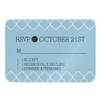 Quatrefoil azul e branco RSVP Convite 8.89 X 12.7cm