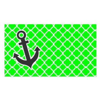 Quatrefoil verde elétrico; Âncora Modelo De Cartões De Visita