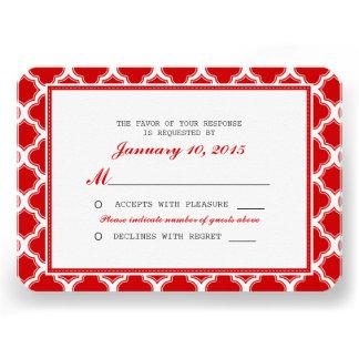 Quatrefoil vermelho e branco que Wedding RSVP Convite Personalizados
