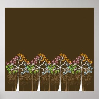 Quatro árvores das estações no poster de Brown