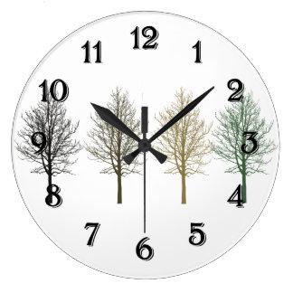 Quatro árvores relógios de paredes