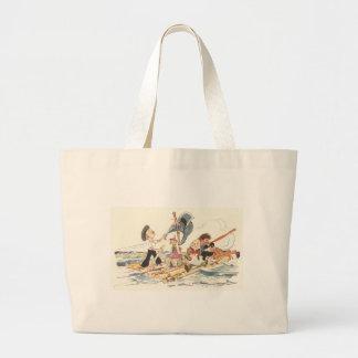 Quatro bonecas em uma jangada no mar sacola tote jumbo