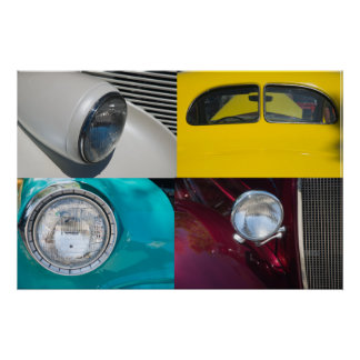 Quatro carros vintage posteres
