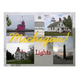 Quatro cartão dos faróis de Michigan