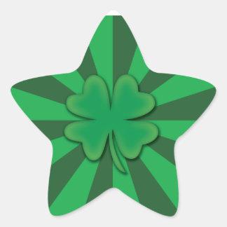 Quatro etiquetas da estrela do trevo da folha adesito estrela