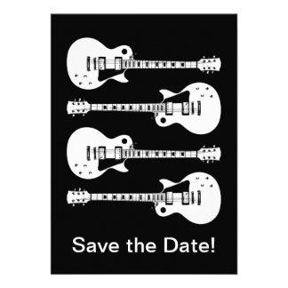 Quatro guitarra elétricas em preto & no branco convite personalizados