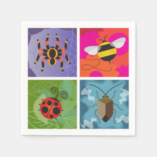 Quatro insetos guardanapo de papel