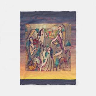Quatro meninas e um galgo cobertor de lã