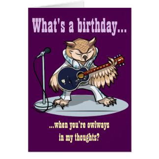Que é um aniversário? Desenhos animados da coruja Cartão Comemorativo
