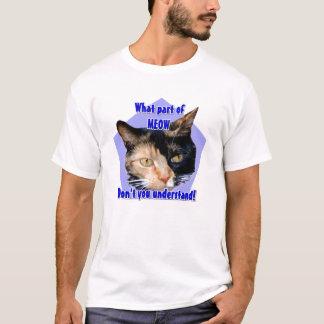 Que parte do Meow! Camisa do gato de chita