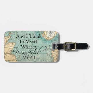 Que Tag maravilhoso da bagagem do mundo - mapa do Etiqueta De Bagagem