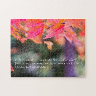 Quebra-cabeça 16:8 do salmo nas folhas da queda