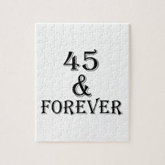 Quebra-cabeça 45 e para sempre design do aniversário