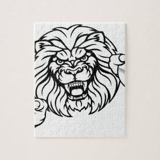 Quebra-cabeça A bola do basebol do leão ostenta a mascote