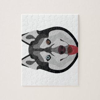 Quebra-cabeça A ilustração persegue o rouco Siberian da cara