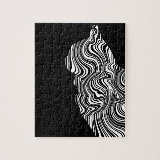 Quebra-cabeça Abstract Black and White Cat Swirl Monochroom
