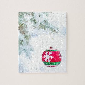 Quebra-cabeça Aguarela da neve do pinho dos feriados do Natal