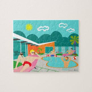 Quebra-cabeça alegre retro da festa na piscina