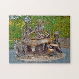 Quebra-cabeça Alice no Central Park do país das maravilhas.