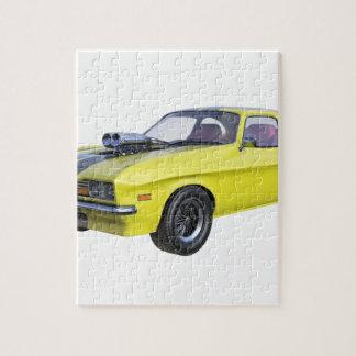 Quebra-cabeça Amarelo do carro de 1970 músculos com listra preta