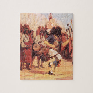 Quebra-cabeça Americanos nativos do vintage, dança do búfalo por