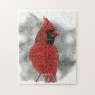 Quebra-cabeça animal do pássaro cardinal vermelho