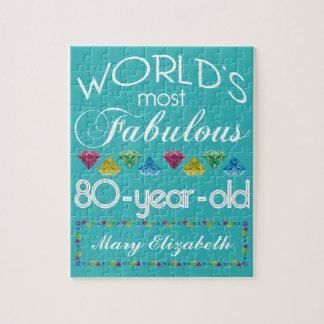 Quebra-cabeça aniversário do 80 a maioria de turquesa colorida