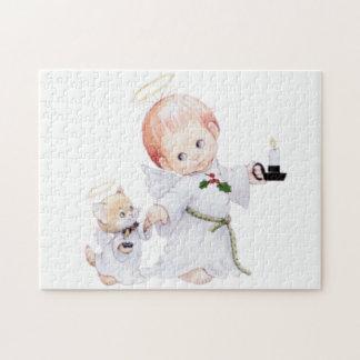 Quebra-cabeça Anjo bonito e gato do bebê