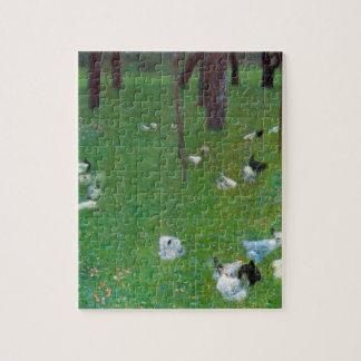 Quebra-cabeça Após a chuva, jardim com as galinhas por Klimt