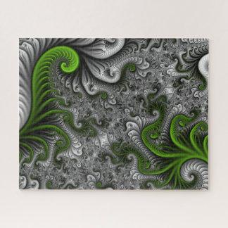 Quebra-cabeça Arte abstrata do Fractal do verde e das cinzas do