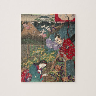 Quebra-cabeça Arte bonita japonesa do samurai da gueixa