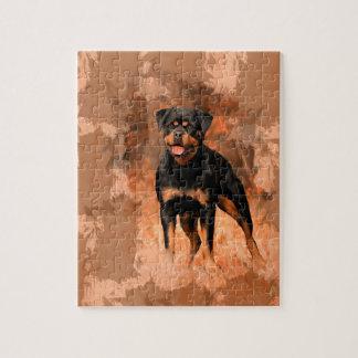 Quebra-cabeça Arte da aguarela da pintura a óleo do cão de
