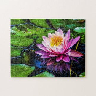 Quebra-cabeça Arte de Waterlily Digital da flor 014 -