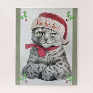 Quebra-cabeça Arte do gato de gato malhado do Natal de Louis