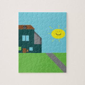 Quebra-cabeça Arte do miúdo - céu & luz do sol da casa