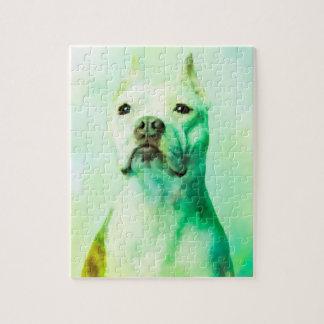 Quebra-cabeça Arte do retrato da cor de água do cão de Pitbull