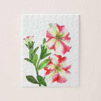 Quebra-cabeça Arte floral dos petúnias cor-de-rosa e brancos