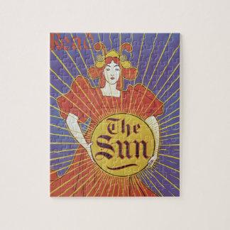 Quebra-cabeça Arte Nouveau do vintage, jornal de New York Sun