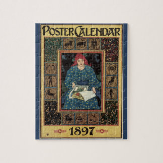 Quebra-cabeça Arte Nouveau do vintage, livro da astrologia da