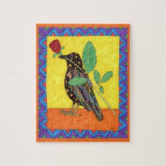 Quebra-cabeça Arte popular colorida do mexicano do corvo & do